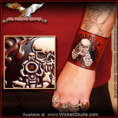 WickedSkulls DILLIGAF Leather Wrist Cuff