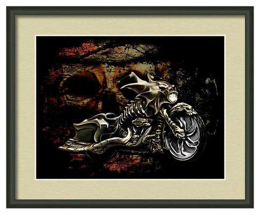 Bad Ass Skull Bike Print