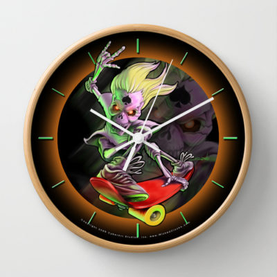 Skeleton Skate Boarder Clock
