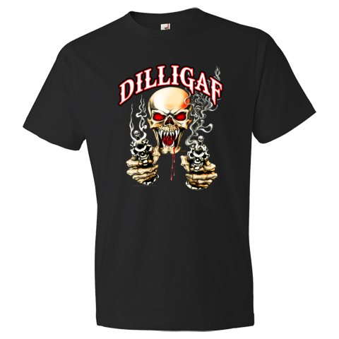 DILLIGAF Vampire Skull Shooting Two Pistols