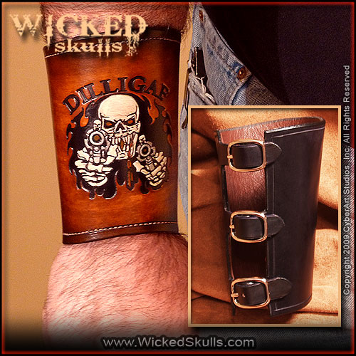Wicked Skulls DILLIGAF Leather Gaunlet